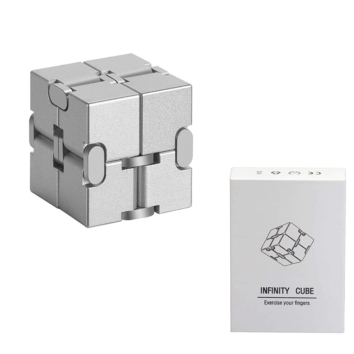 wishing Infinity Cube Fidget Toy, 1.14 Inch Fidget Cube Toy Fidget Finger Toy Aluminum Metal Fidget Stress and Anxiety relief for ADD ADHD Anxiety and Autism Adult and Children Silver