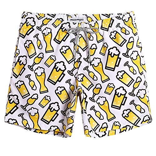 MaaMgic Mens Hawaiian Swim Trunks Above The Knee Beach Short Swim Suit with Mesh Lining Pocket Summer Beer L