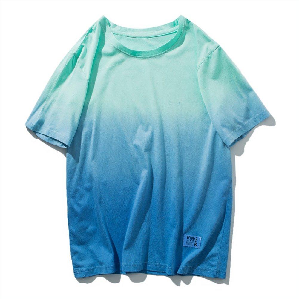 Sport T-Shirt Männer Gradient Baumwolle Kurzarm Breathable Sweat Fitness Reiten Wandern T-Shirt,4,XL