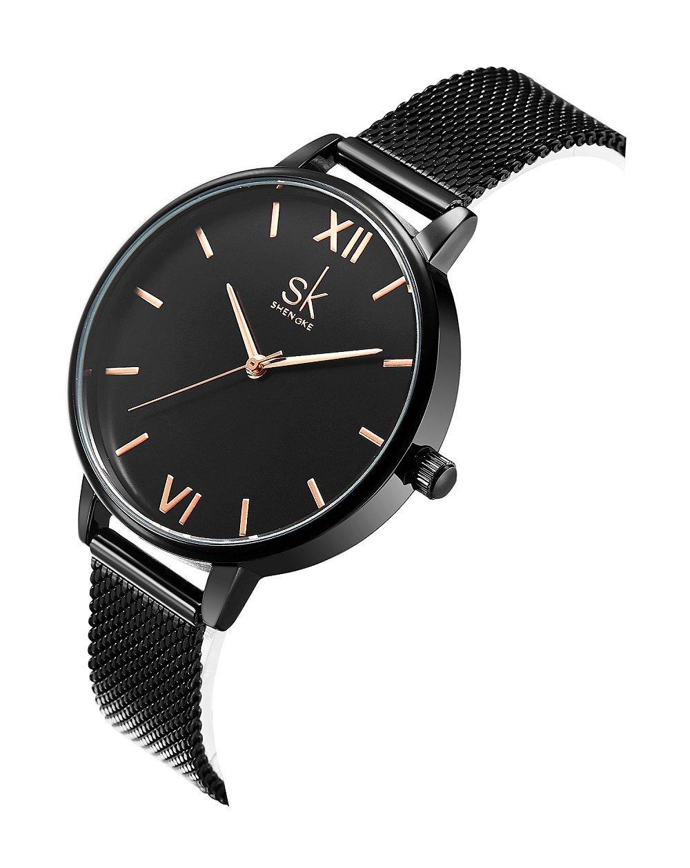 SHENGKE Elegant Simplicity Black Women Watch Mesh Band Women Watches Ladies Business Wristwatch 2018 (Black)