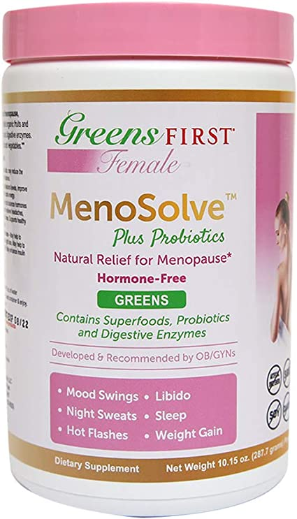 Amazon Com Greens First Female Menosolve Plus Probiotics Natural Relief For Menopause 10 15 Ounce Health Personal Care