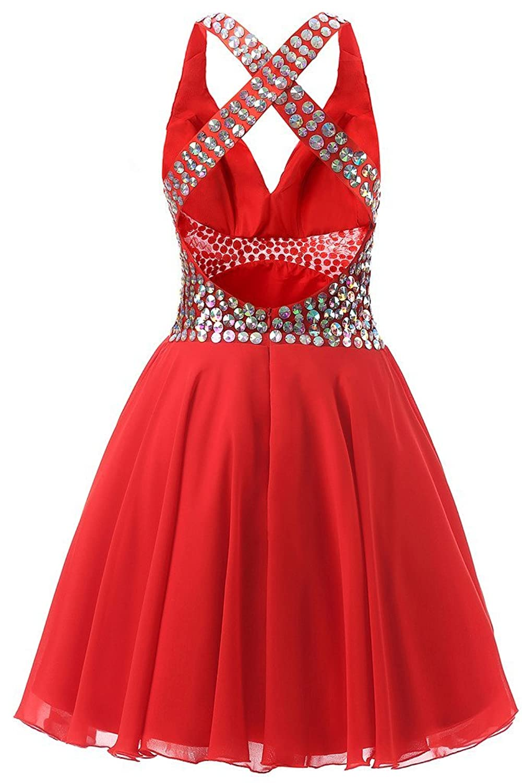 Drasawee Halter Rhinestones Homecoming Cocktail Ball Dress Short V-Neck Evening Prom Gowns