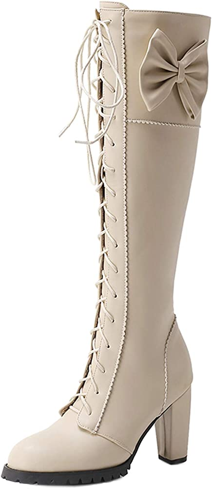 UK Womens Vintage Lace Up Knee High Boots Mid Calf Heel Block Party Shoes Size