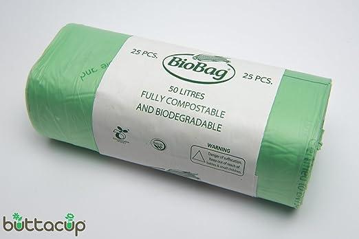 Por Buttacup®, 25 bolsas x 50 litros biodegradables bolsas/bolsas ...