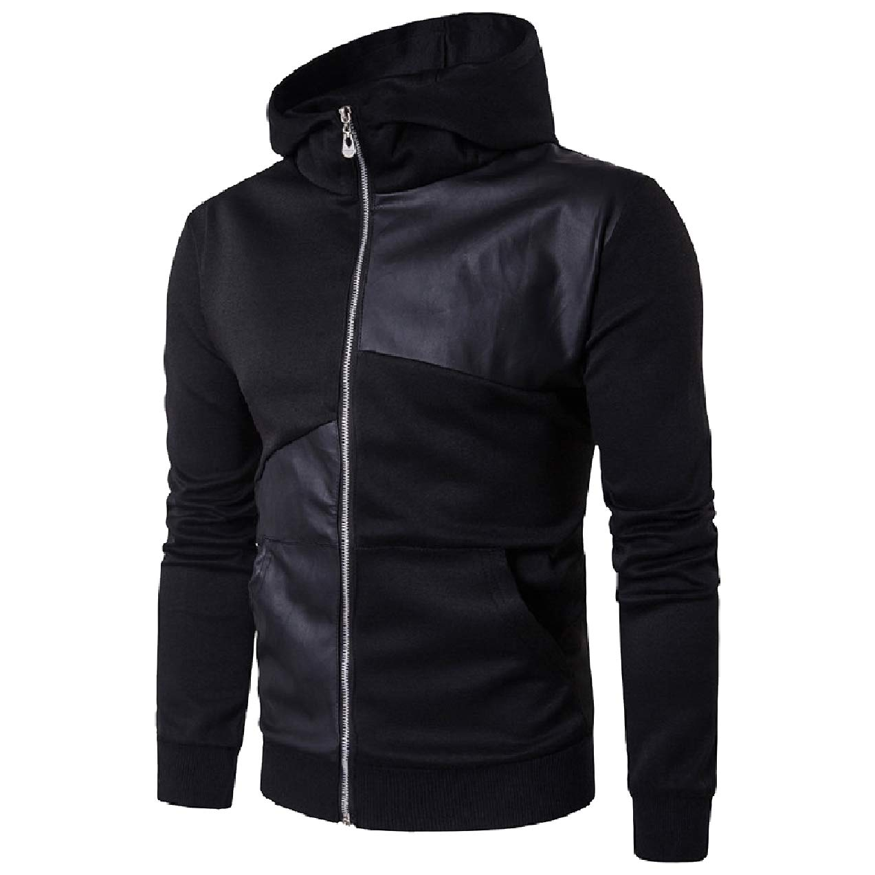 Zimaes-Men Coat Outwear Zip-Up Faux Leather PU Vogue Sweatshirt Hoodies