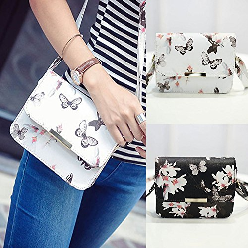 Girls Black Flower SN Tote Bags Butterfly Women Bag Small Handbag Shoulder Messenger Leather Fashion Vintage qFnn6Ttw