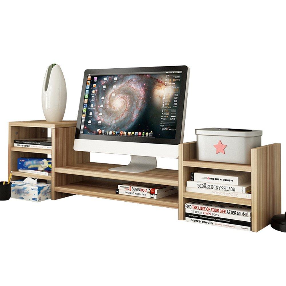 5  LCD Screen Multilayer Base Multi-Function Desktop Storage Rack Wooden Size 97  20  28cm (color   3 )