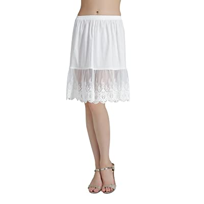 BEAUTELICATE Skirt Extender Half Slip with Lace Trim 100% Cotton Vintage Underskirt Ivory Black Size S M L 22 24 Inches at Women's Clothing store