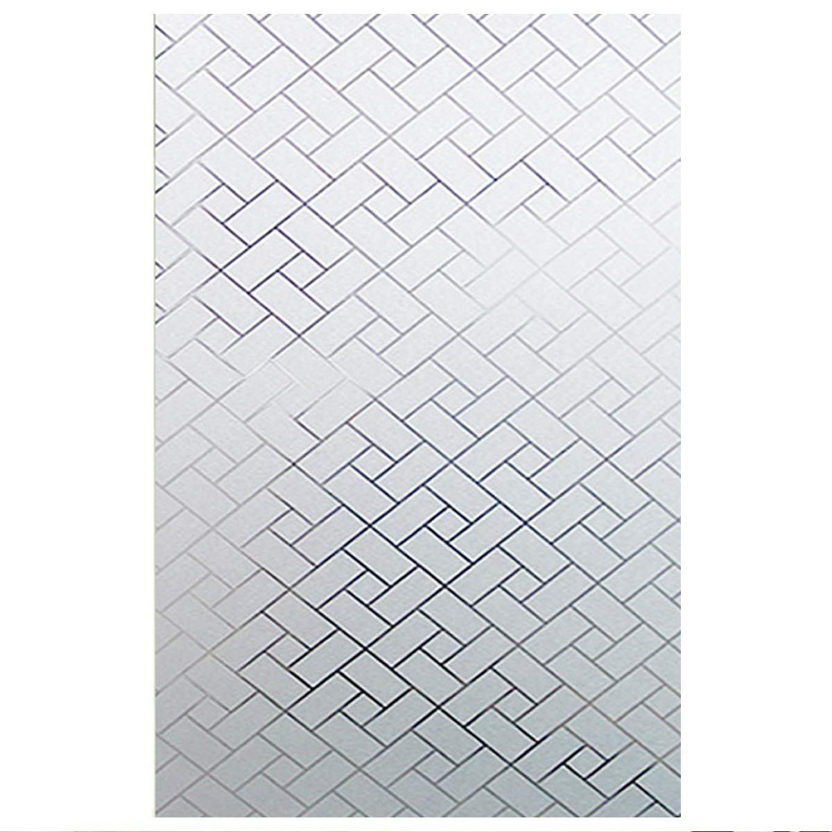 EASEHOME Adhésif Film Electrostatique Dépoli de Vitre Fenêtre, Verre Autocollants Décoratifs pour Fenetre Opaque Statique Sticker Protége Intimité Anti-UV 17.7'x78.7'(45x200cm), Plaid Diagonal