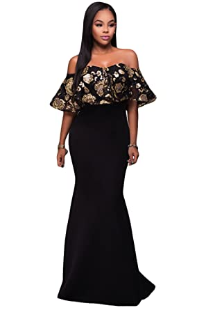 Black Memory Black Gold Sequins Ruffle Strapless Long Dress Black (US 4-6)