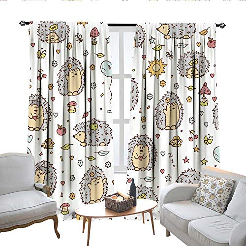 QianHe Room Darkening Curtains for Bedroom Hedgehogs Wallpaper for Children Vector Illustration Drapes Panels W63 x L72 (Panel Free Bed Time)