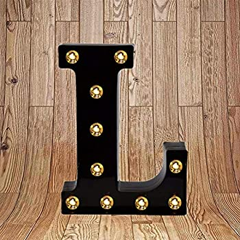 Light up Letters LED Marquee Letter Lights Sign for Night Light 26 Black Alphabet Light Up Wedding Birthday Party Battery Powered Christmas Lamp Home Bar Wall Mounted Decorative (Black Letter L)