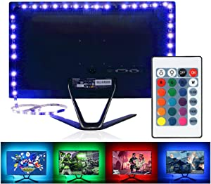 KK-mall TV Backlight Light Kit, 6.56FT/2M 5V USB LED Lights Strips 5050 RGB Bias Lighting with Remote for HDTV Desktop PC Monitor Home Theater Kitchen Cabinets, Multi Color (40-60in)