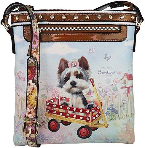 B BRENTANO Cute Animal Graphic Crossbody Bag Purse with Rhinestones (Cozy Dog Wagon)