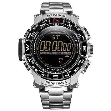 QRMH Reloj electrónico de los Hombres Pantalla Digital con Correa de Acero Inoxidable Reloj de Plata