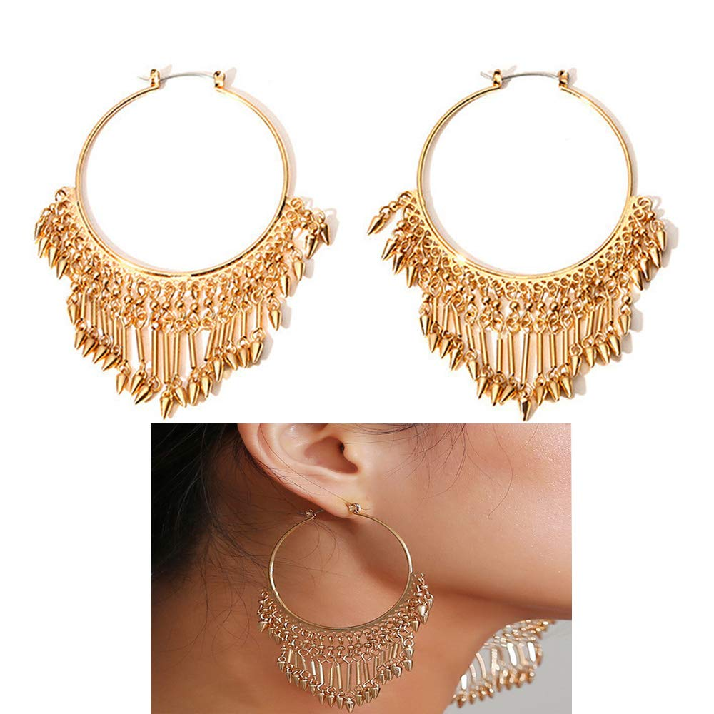 Mrotrida Fashion Big Hoop Earrings for Women Girls Exaggerated Metal Tassel Dangle Earring Gold Party Geometry Drop Earrings
