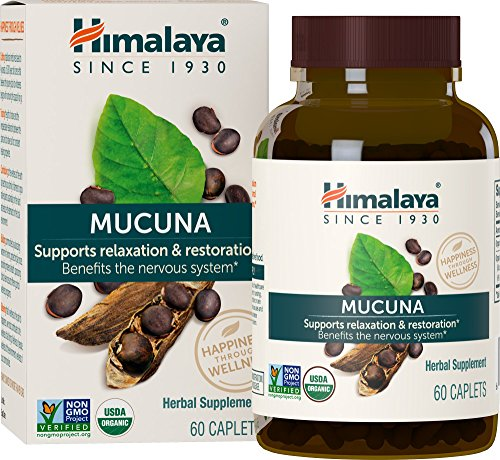 Himalaya Organic Mucuna Pruriens, DOPA Extract, Promotes Dopamine for a Positive Mood, 60 Caplets, 600 mg, 2 Month Supply