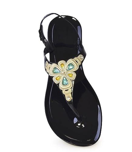 5c37d26511d3 Mud Rocks Ladies Women Size 3 Black Flat Jelly Flip Flops Summer Beach  Sandal  Amazon.co.uk  Shoes   Bags