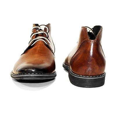 7b29cc98bbb1 PeppeShoes Modello Buqe - Handgemachtes Italienisch Leder Herren Braun  Stiefeletten Chukka Stiefel - Rindsleder Handgemalte Leder - Schnüren   Amazon.de  ...