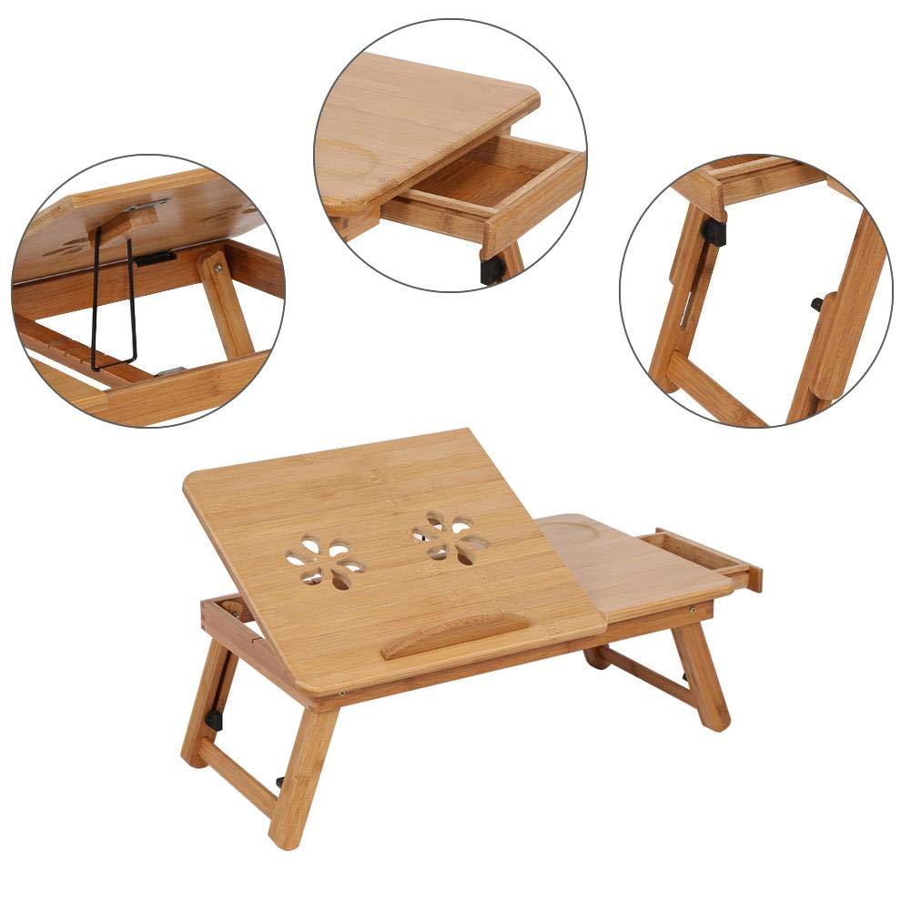 Tavolino Computer Tavolo PC Tavolino dAppoggio Inclinabile Zoternen Portatile bamb/ù Pieghevole da Tavolo Vassoio da Letto in bamb/ù con cassetto Scolpito a cavit/à per Ventilazione 50 * 30 * 20cm
