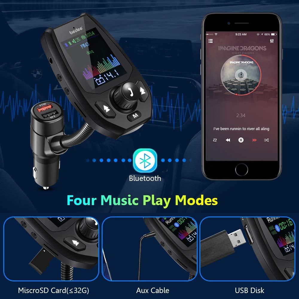 bedee Bluetooth FM Transmitter, FM Transmitter Car with 1.8\