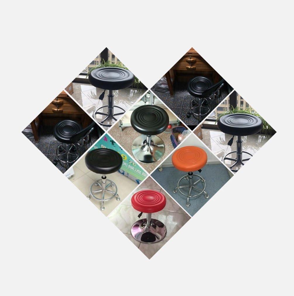A-Fort Tabouret de bar avec dossier, aspect simili cuir, rotation réglable, repose-pieds chromé et base comptoir de petit-déjeuner comptoir cuisine et maison (Couleur : Red) Orange