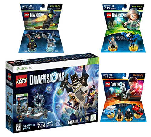 Lego Dimensions Magical Starter Pack + Harry Potter Team Pack + Fantastic Beasts Tina Goldstein Fun Pack + The Wizard Of Oz Fun Pack for Xbox 360 Console by WB Lego