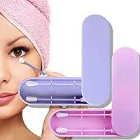 2 PCS Coton-tige Réutilisable, Coton Double Face Écologique Silicone Bourgeons Nettoyage des Oreilles Cosmetic Bud Stick Avec étui de Rangement (Violet+Rose)