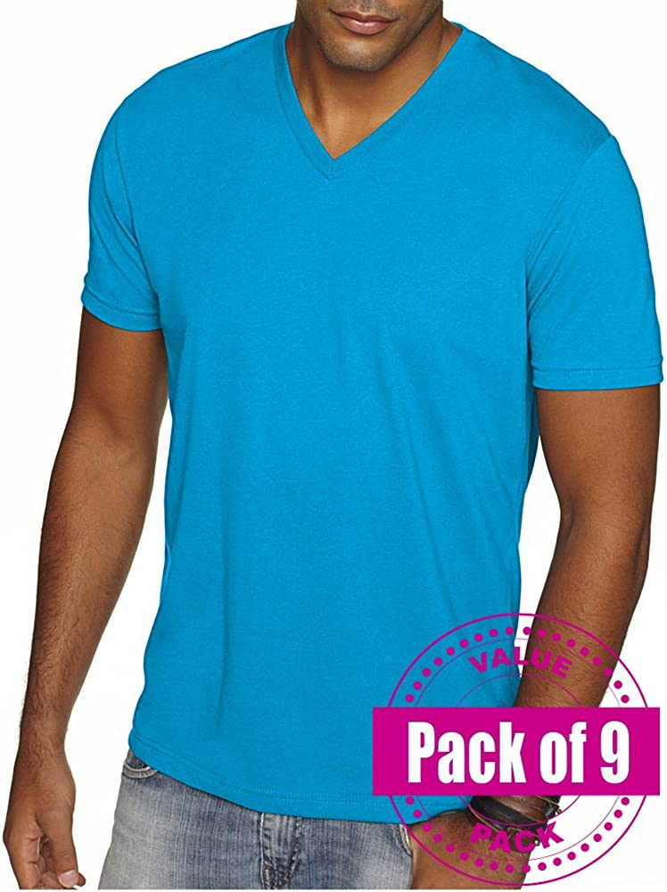 Next Level Mens Premium Sueded V-Neck shirt 6440-Turquoise-Small 9 Pack