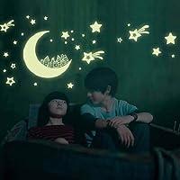 Lune Star Lumineux Fluorescent Autocollants, Eenkula City Glow In Dark Wall Decal Sticker Décor