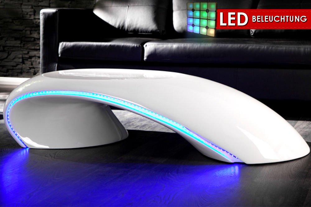 CRAVOG Couchtisch Hochglanz Glasfaser Weiß mit LED Beleuchtung Blau ...
