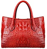 Pijushi Women Embossed Crocodile Bag Designer Top Handle Handbags 5002A (One Size, 5002A Red)