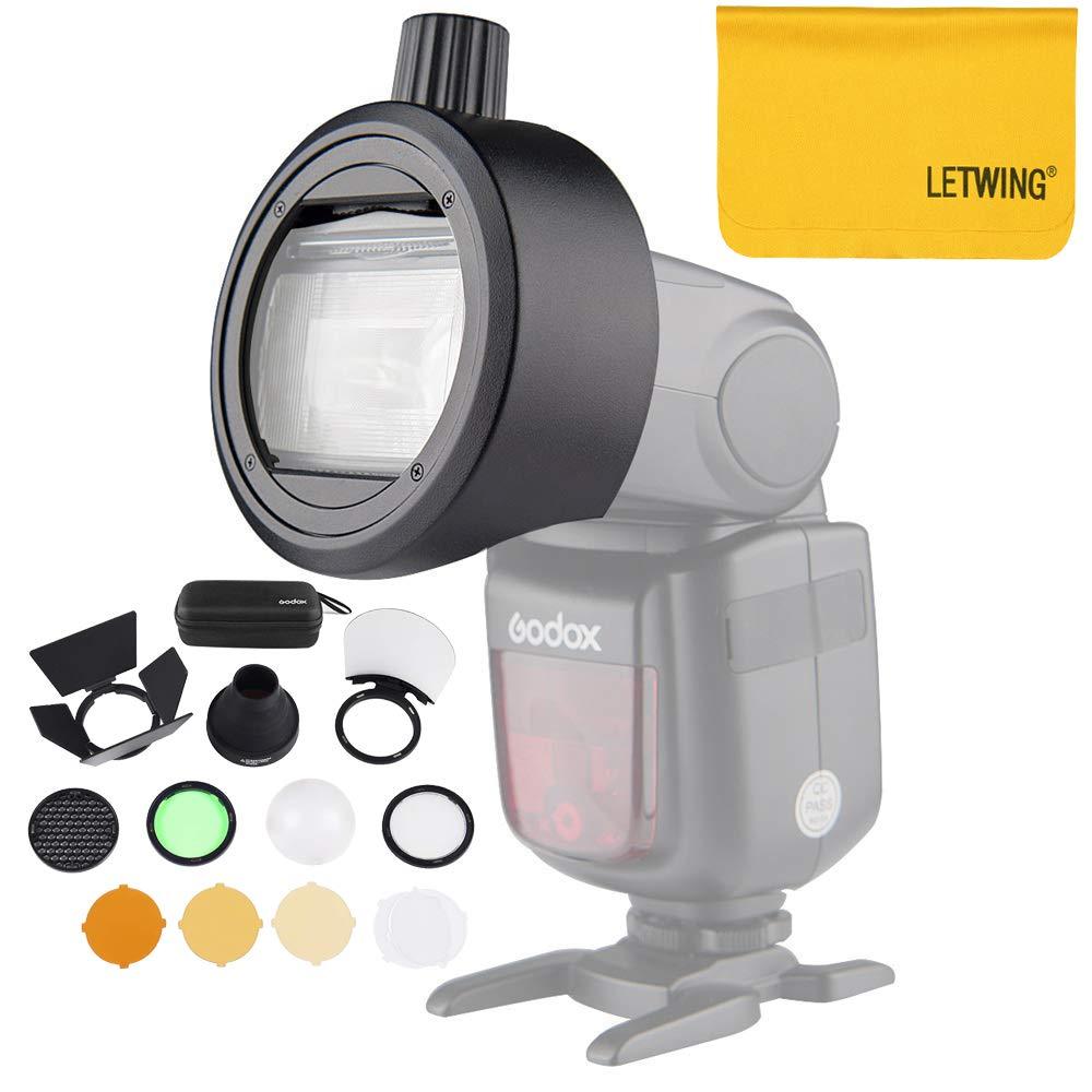 Godox AK-R1 Round Head Accessories with Godox S-R1 Adapter for Canon,for Nikon,for Sony Speedlight,for YONGNUO Speedlite and Godox V860II V850II TT685 TT600 Camera Flash