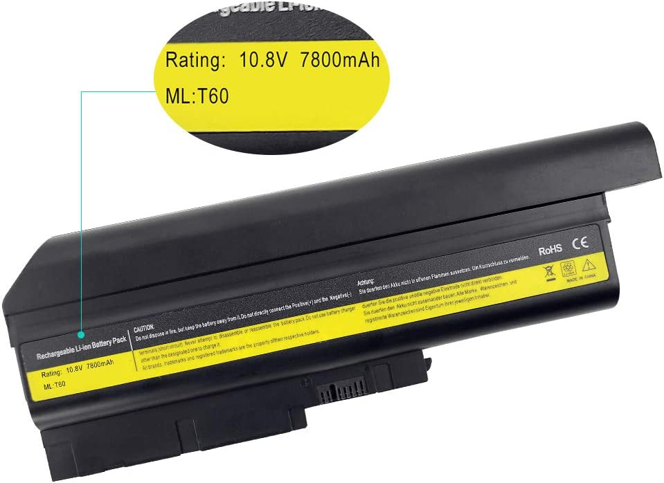 LQM 10.8V 7800mAh New 40Y6797 Laptop Battery for Lenovo IBM ThinkPad T60 R60 R500 W500 T500 SL300 SL400 SL500 40Y6795 42T4619 42T4620 92P1133