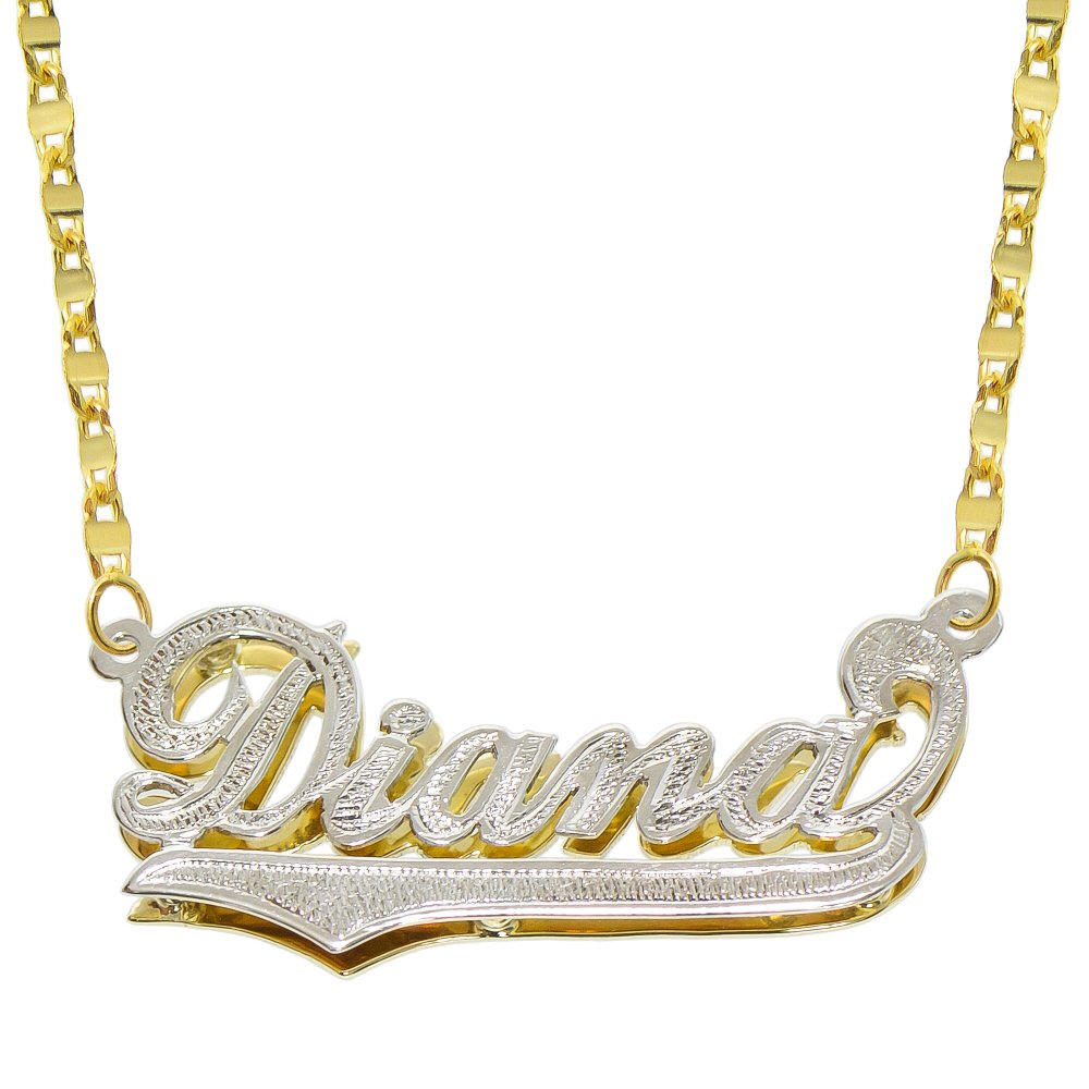 14K Two Tone Gold Personalized Double Plate 3D Name Necklace - Style 3 (20 Inches, Hammer Chain)