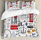 Ambesonne Doodle Duvet Cover Set Queen Size by, I Love London Double Decker Bus Telephone Booth Cab Crown of United Kingdom Big Ben, Decorative 3 Piece Bedding Set with 2 Pillow Shams, Multicolor