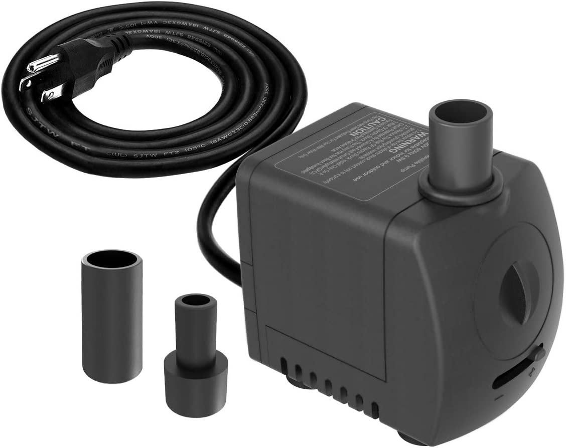Knifel Submersible Pump 150GPH Ultra Quiet with Dry Burning Protection 4ft High Lift for Fountains, Hydroponics, Ponds, Aquariums & More……