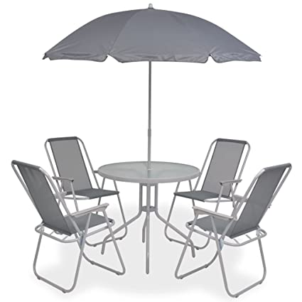 Festnight- Salon de Jardin Textilène 1 Table et 4 Chaise ...
