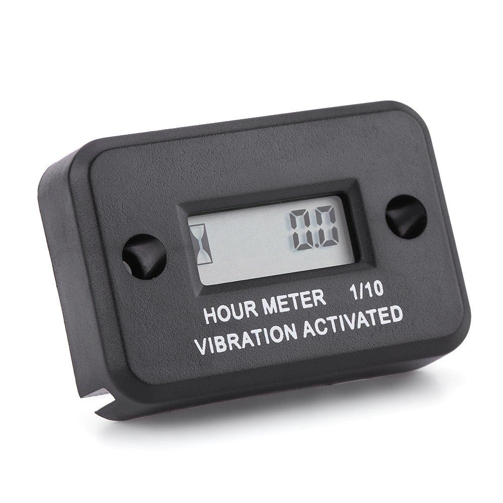 Qiilu Waterproof Digital Vibration Hour Meter Gauge Wireless for Vibrating Machine Motorcycle ATV Boat Marine[Black]