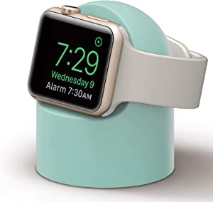 PROATL iWatch Charging Stand with Nightstand Mode, Silicone Charger Dock Holder for Apple Watch Series SE/6/5/4/3/2/1(44/42/40/38mm)[Adapters OR Cables NOT Included](Minte)