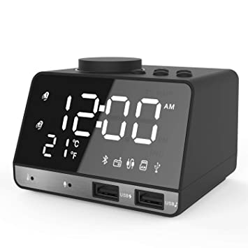 CR#ST Reloj Despertador Digital Bluetooth Radio, Bluetooth 4.2 / Aux/TF Tarjeta