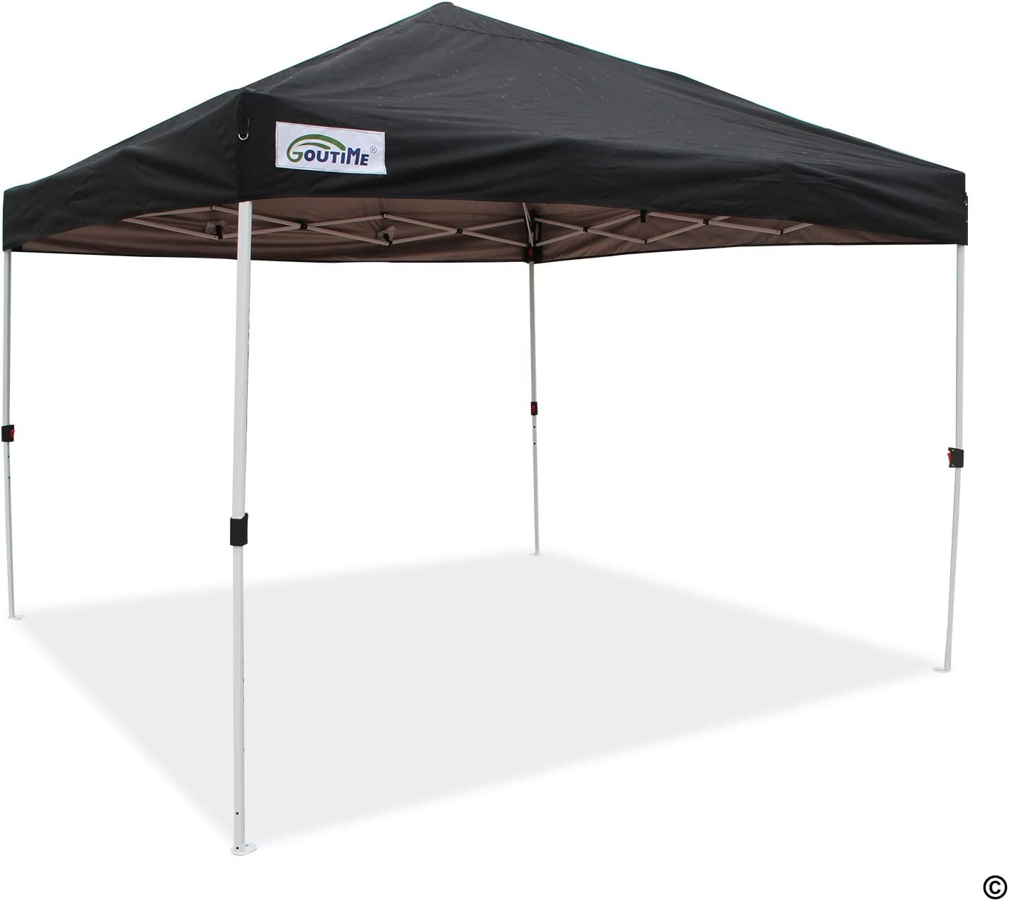 Goutime Waterproof 10×10 Canopy, Portable Pop Up Canopy Tent with Wheeled Roller Bag, Bonus 4 Stakes and Ropes 10 x10 , Black