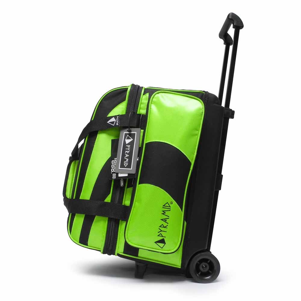 Pyramid Path Deluxe Double Roller Bowling Bag (Black/Lime Green)