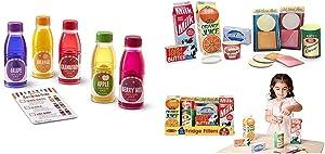 Melissa & Doug Tip & Sip Toy Juice Bottles & Fridge Groceries