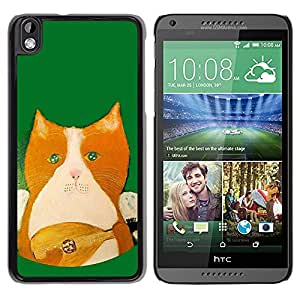 Paccase / SLIM PC / Aliminium Casa Carcasa Funda Case Cover para - Mandolin Instrument Playing Green - HTC DESIRE 816