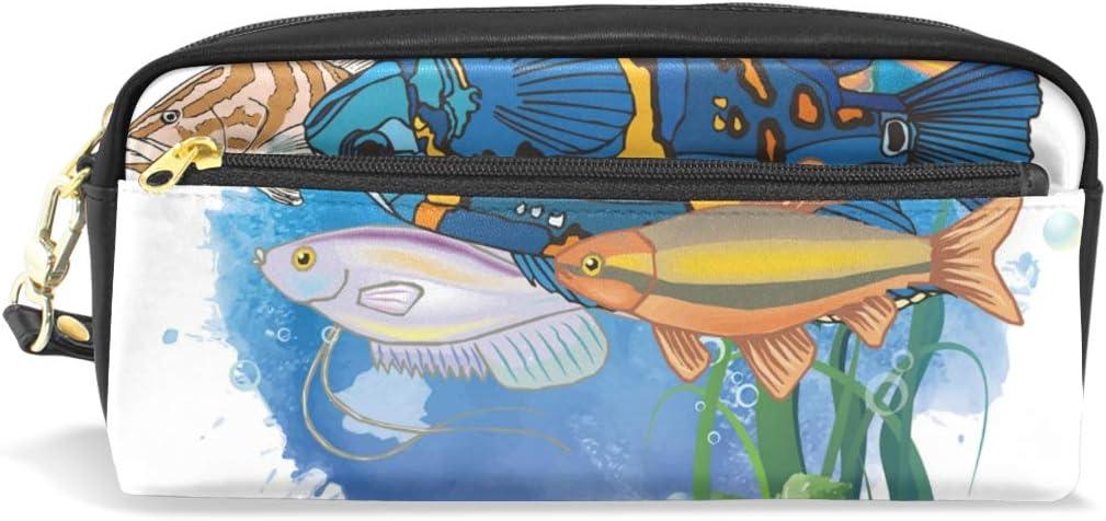 Estuche para lapiceros de pesca, estuche con cremallera para niñas, bolsa de maquillaje grande organizador con compartimentos: Amazon.es: Oficina y papelería
