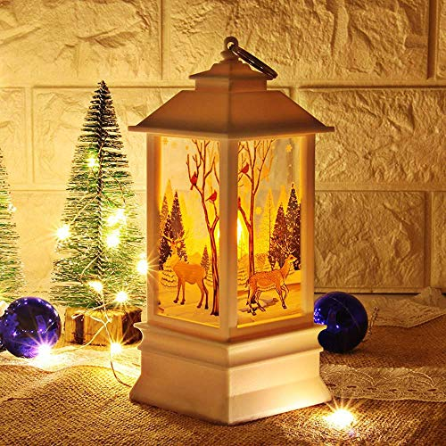 Leegoal LED Vintage Christmas Lantern, Santa/Snowman/Deer Decorative Hanging Night Light, Battery Operated Flameless LED Candle Lamp for Home Garden Holiday Party Xmas Tree Decorations, Warm White ()