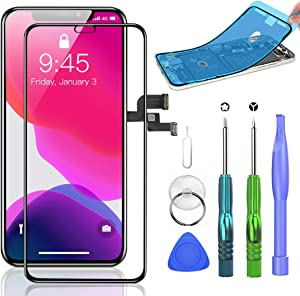 SZRSTH Compatible with iPhone X Screen Replacement [OLED] 5.8 inch with 3D Touch Display Digitizer Assembly Set with All Repair Tools + Screen Protector + Waterproof Glue
