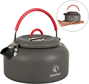 REDCAMP 0.8L/0.9L/1.4L Outdoor Camping Kettle, Aluminum Tea Kettle with Carrying Bag, Compact Lightweight Coffee Pot