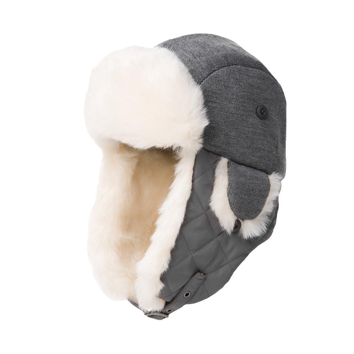 snfgoij Herren Hüte Ski Caps Russische Leder Bomber Hut Winter Fleece Caps Plüsch Verdickung Warm Outdoor